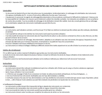 Vignette Notice de nettoyage et d'entretien des instruments